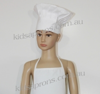 Kids Apron and Chef Hat Cotton white
