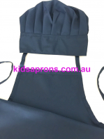 Kids Apron and Chef Hat Cotton Navy Blue