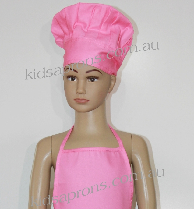 Kids Apron and Chef Hat Cotton/Polyester pink