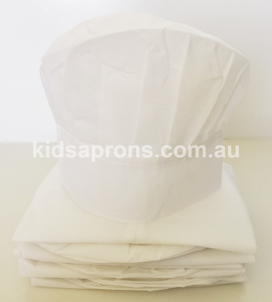 Kids Aprons and Hats-6pk-White-non woven