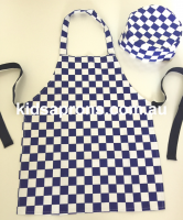 Chequered Blue/White Kids Apron and Cap 100% Cotton 1-4 years