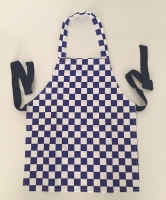 Chequered Blue/White Kids Apron 100%Cotton 1-4 years