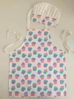 Cupcake design kids apron & chef hat 100%cotton