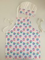 Cupcake design kids apron & chef hat 100%cotton