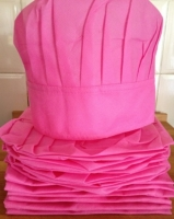 Kids Apron and Chef Hat-6pk pink non woven